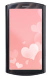 Modern phone with hearts Stock Photo