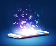 Modern phone zodiac, astrology concept Royalty Free Stock Image