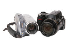 Modern photo and HDV cameras Stock Photos