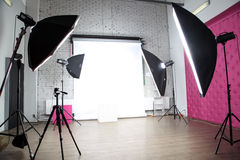 Modern photo studio. Interior of a modern photo studio royalty free stock photography