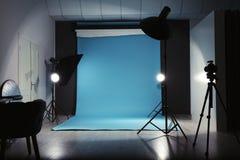 Modern photo studio interior. With professional lighting equipment stock images