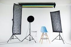 Modern photo studio interior with professional lighting equipment Stock Image
