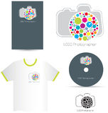 Modern photographer logotype. Modern colorful photographer logotype with Card, sticker and tee-shirt, CD project. Vector Royalty Free Stock Photo