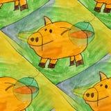 Modern pig seamless watercolor artist wallpaper texture of handm Stock Image