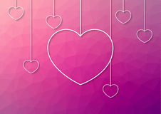 Modern pink abstract background with white hang hearts from the. Top with shadow for all event matched with love Royalty Free Stock Photography