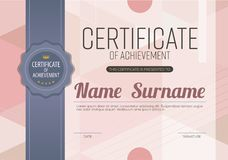 Modern Pink Blank Certified Border With Dark Blue Stripe Ribbon Template Luxury. Background Vector Illustration Royalty Free Stock Photo