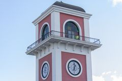 Modern Pink Clock Tower and Sky. A clock tower from Izmir/Turkey. Detailed window and pink colored Stock Photography