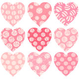 Modern pink hearts with dots, scribbles and texture. For greeting cards, invites and scrapbook designs Stock Photography