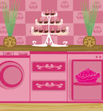 Modern pink kitchen Royalty Free Stock Photos