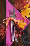 Modern Pink and Orange Fall Table Place Setting Stock Image