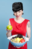 Modern Pinup With Fruit Bowl Royalty Free Stock Photos