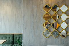 Modern pizzeria interior with gray plaster on the walls royalty free stock photos
