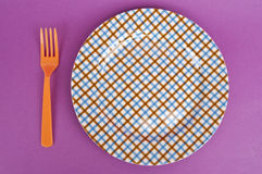 Modern Place Setting. With Vibrant Colors and Patterns royalty free stock photo