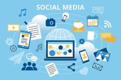 Modern plan designvektorillustration, begrepp av socialt massmedia, social nätverkande, rengöringsdukcommuntity och utnämningnyhe Royaltyfri Fotografi