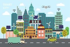 Modern plan linje design, begrepp av den smarta staden, teknologier av framtida och stads- innovationer Royaltyfria Bilder