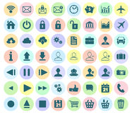 Modern plan symbolsuppsättning av rengöringsduk-, multimedia- och affärssymboler på a Arkivbilder