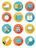 Modern plan symbolsuppsättning för rengöringsduk och mobil Royaltyfria Foton