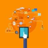 Modern plan symbolsuppsättning för vektor. mobil service. royaltyfri illustrationer