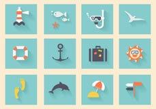 Modern plan symbolsvektorsamling Royaltyfri Foto