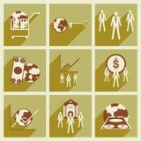 Modern plan symbolsvektorsamling med skugga Arkivbilder