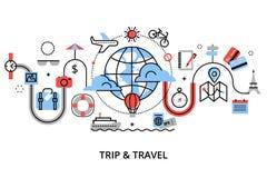 Modern plan tunn linje designvektorillustration, begrepp av att resa runt om världen, resa och tur till andra länder Royaltyfri Bild