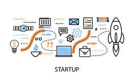 Modern plan tunn linje designvektorillustration, begrepp av det startup projektet, affärsstrategi och innovationutveckling Arkivbild