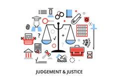 Modern plan tunn linje designvektorillustration, begrepp av domprocessen, skydd av mänskliga rättigheter och förordningar av just Royaltyfri Bild