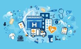 Modern plan tunn linje designvektorillustration, begrepp av medicin och sjukvården, första hjälpen, medicinsk utrustning och medi Royaltyfri Fotografi
