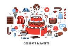 Modern plan tunn linje designvektorillustration, begrepp av söta efterrätter, kaka och choklad Royaltyfri Fotografi