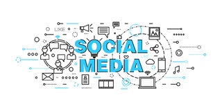 Modern plan tunn linje designvektorillustration, begrepp av socialt massmedia, social nätverkande, rengöringsdukcommuntity och ut Royaltyfria Bilder
