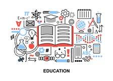 Modern plan tunn linje designvektorillustration, begrepp av utbildningsprocessen och att lära i utbildningsinstitution och objekt Royaltyfri Fotografi