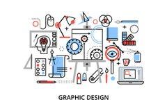 Modern plan tunn linje designvektorillustration, infographic begrepp av den grafiska designen, märkes- objekt och hjälpmedel Royaltyfri Fotografi