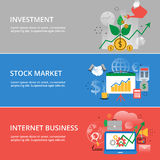Modern plan tunn linje designvektorillustration, infographic begrepp av den investeringprocess-, aktiemarknad- och internetaffäre Royaltyfria Foton