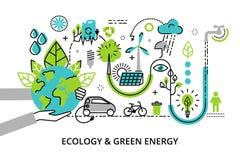 Modern plan tunn linje designvektorillustration, infographic begrepp av grön energi för för för ekologiproblem, utveckling och be Arkivfoto