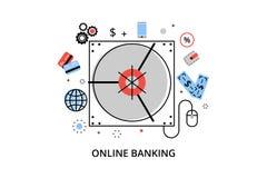 Modern plan tunn linje designvektorillustration, infographic begrepp av online-bankrörelsen, internetpengaroperationer och betaln Royaltyfria Bilder
