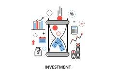 Modern plan tunn linje designvektorillustration, infographic begrepp med symboler av att investera till affären och finansprocess Royaltyfri Bild