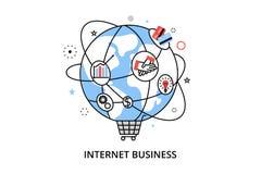 Modern plan tunn linje designvektorillustration, infographic begrepp med symboler av online-affären, internetmarknadsföringsidé,  Arkivfoto