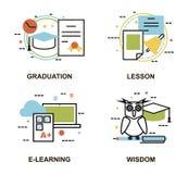 Modern plan tunn linje designvektorillustration, uppsättning av utbildningsbegrepp, gradution, skolakurs som e-lär process Fotografering för Bildbyråer
