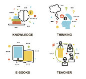 Modern plan tunn linje designvektorillustration, uppsättning av utbildningsbegrepp, kunskap, tänkande process, e-böcker och lärar Fotografering för Bildbyråer