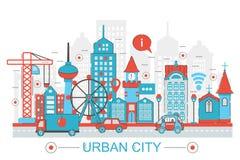 Modern plan tunn linje stads- stadsbegrepp för design för rengöringsdukbanerwebsite Arkivfoto