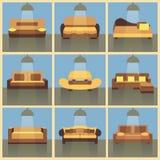Modern plan uppsättning för färgsoffasymboler Royaltyfria Bilder