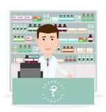 Modern plan vektorillustration av en manlig apotekare som står den near kassaapparaten och visar medicinbeskrivning på räknaren royaltyfria foton
