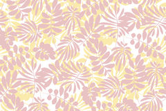 Modern plant pattern. Pale color tropical leaves seamless Stock Photo