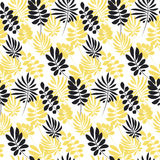 Modern plant pattern. Yellow and black tropical leaves Royalty Free Stock Images