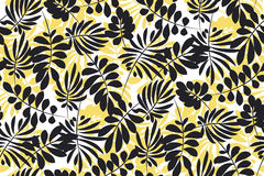 Modern plant pattern. Yellow and black tropical leaves Stock Photography