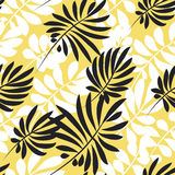 Modern plant pattern. Yellow and black tropical leaves Royalty Free Stock Photography