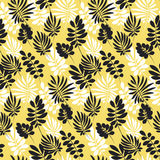 Modern plant pattern. Yellow and black tropical leaves Stock Image
