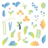 Modern plants vector illustration background elements collection set. Leaves, tree, flowers and other colorful botany herbs. Modern plants vector illustration stock illustration