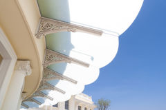 Plastic canopy on the building place. Modern plastic canopy on the building place Royalty Free Stock Image