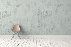 Modern plastic chair. Over rough wall and wooden floor. 3d render high quality image Royalty Free Stock Photo
